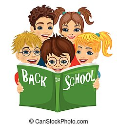 Group of kids reading green book with back to school text