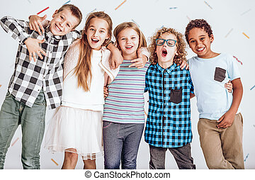 Group of kids standing in a row