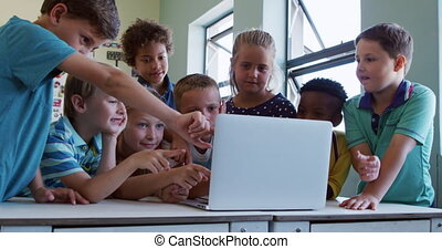 Group of kids using laptop in the class