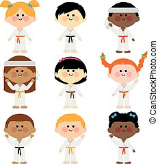 Group of kids wearing martial arts uniforms. Vector Illustration