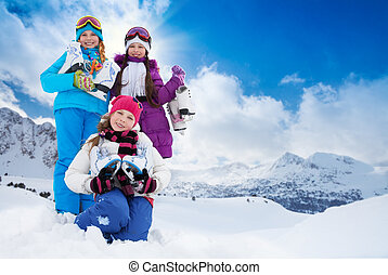Group of kids with ice skates