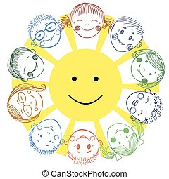 group of kids with sun