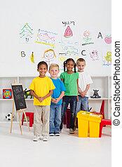 group of kindergarten kids in classroom