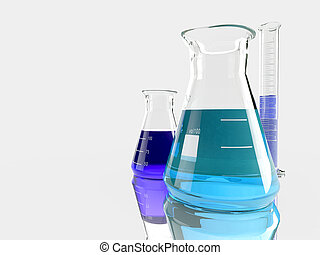 group of laboratory flasks