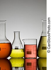 group of laboratory tests with colored liquid
