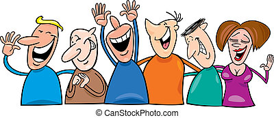 Group of laughing people - Cartoon illustration of group of ...
