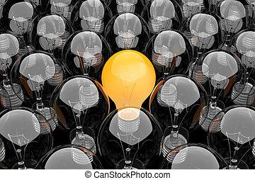 Group of light bulbs - 3d render of a group of light bulbs