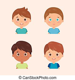 group of little boys characters vector illustration design