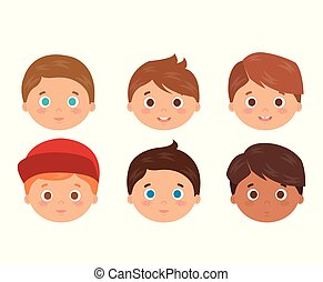 group of little boys heads characters vector illustration...
