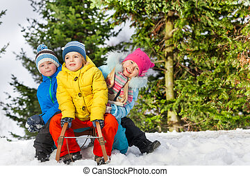 Group of little children slide on sledge in park