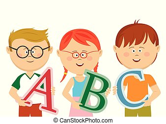 Group of little kids holding ABC letters