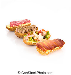 Group of little sandwiches isolated over white background