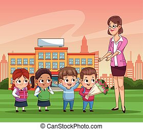 group of little students kids outdoor school