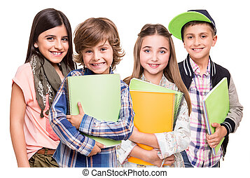 Group of little students over white background