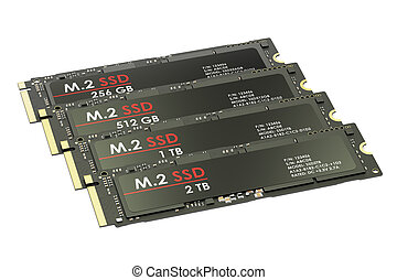 Group of M2 SSD, 3D rendering