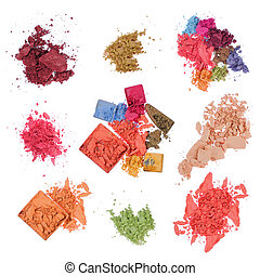 group of make-up products - make-up. isolated over white...