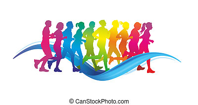 runner - group of male and female runner as colorful ...