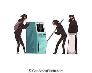 Group of Male Criminals in Masks Trying to Steal Money from ATM Vector Illustration