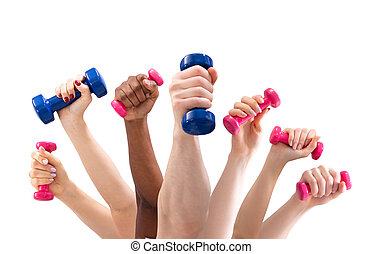 Man And Woman's Hand Holding Dumbbells