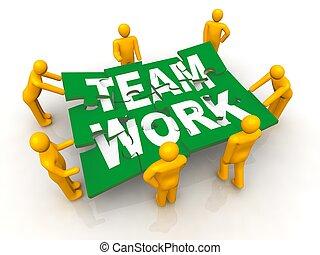 Group of man assembling Team Work puzzle - 3d render of men...