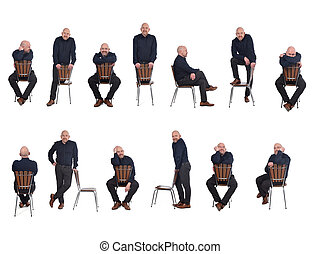 group of man playing with a chair in white background