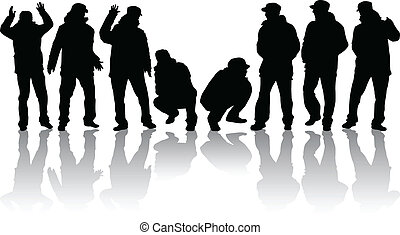 group of man silhouettes - vector illustration