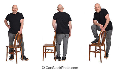 group of man standing with a chair in white background