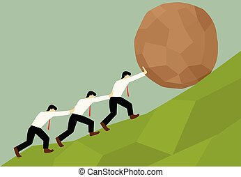 Group of Man try to move stone ball to top of hill