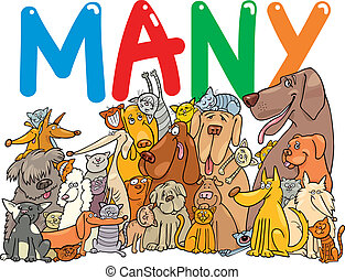 Group of many dogs and cats - cartoon illustration with many...