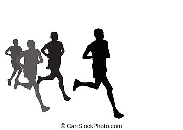 group of marathon runners silhouettes
