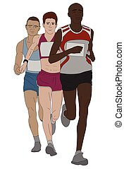 group of marathon runners - vector