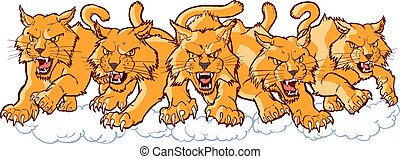 Group of Mean Wildcat Cartoon Mascots Charging Forward - ...