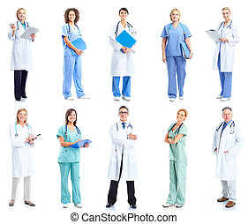 Group of medical doctors. Health care. Isolated on white ...