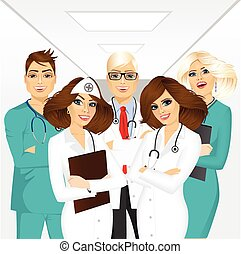 group of medical team professionals standing in a hospital...