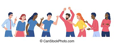 Group of men and women are arguing and fighting. Discussing social issues, shouting, gesturing. Concept of community disagreement, conflict problem discussion. Flat cartoon vector illustration