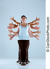 Group of men and women dancing hip hop choreography. Group ...