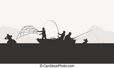 group of men fishing silhouette