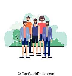 group of men in the landscape scene
