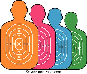 group of men paper targets