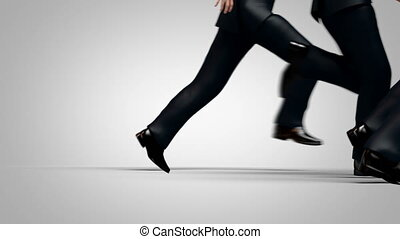 Group of Men Run after an Attractive Woman, Beautiful 3d ...