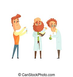 Group of men scientists in laboratory. Funny chemist, physicist and biologist characters in flat style