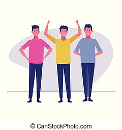 group of men together - young men cartoons vector...