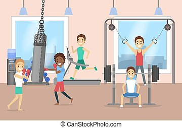 Group of men training in the gym