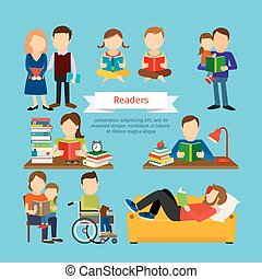 People characters reading book or magazines