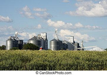 Group of metal grain silos
