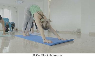 Group of middle aged women with real bodies standing on a mat and doing yoga pilates exercises in a fitness studio