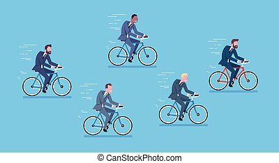 Group Of Mix Race Business Men Ride Bicycle Fast Competition Concept