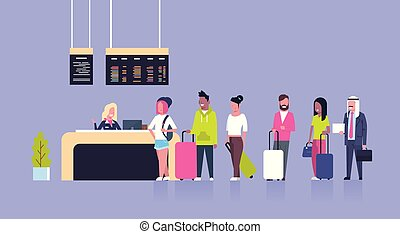 Group Of Mix Race Passengers Standing In Queue To Counter Check In Airport, Departures Board Concept
