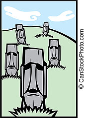 Group of Moai #3 - Easter Island Moai heads in a tabloid...
