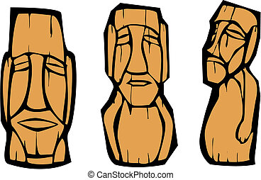 Group of Moai - Group of mixed styled Easter Island Moai...